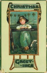 CHRISTMAS GREETINGS  inset boy leaning on rail fishing