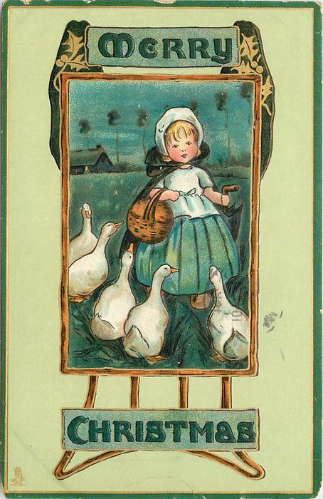 MERRY CHRISTMAS  inset girl and five white geese