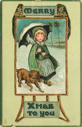 MERRY XMAS TO YOU  inset girl under umbrella in snow, with dog by her side