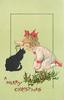 A MERRY CHRISTMAS  girl teases black cat with mistletoe, holly front