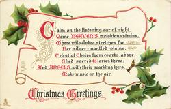 CHRISTMAS GREETINGS  CALM ON THE LISTENING EAR OF NIGHT COME HEAVEN'S... AIR