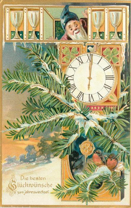 DIE BESTEN GLUCKWUNSCHE ZUM JAHRESWECHSEL  elf looks down at clock, two robins on branch in front of clock