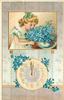 DIE BESTEN GLUCKWUNSCHE ZUM NEUEN JAHR  inset girl smelling blue flowers, clock below