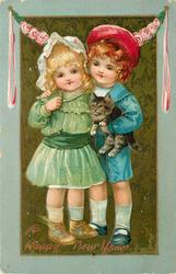 boy in blue with cat under arm embraces girl in green