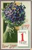 violets left, JANUARY 1 calendar page insc. HEAVEN PROSPER THEE, BE HOPE THY GUIDE!