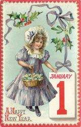 girl in violet dress holds basket of flowers JANUARY 1 tablet below right, holly above