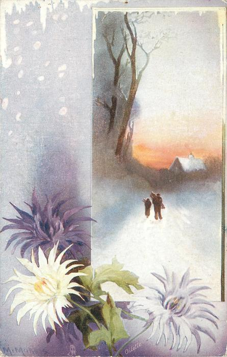 snow scene with chrysanthemums, two figures near cottage