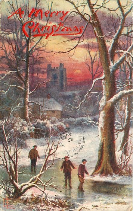 man and two boys testing ice, large castle in background