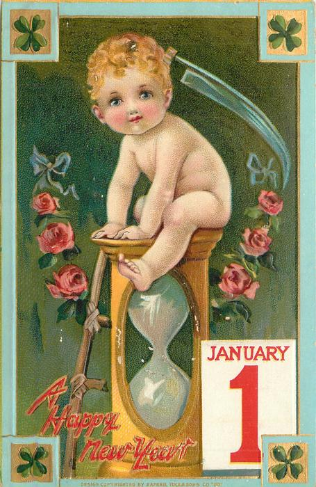 baby sits on hourglass JANUARY 1 placard lower right