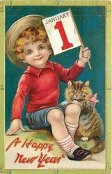 boy in red jumper sits next to kitten & holds JANUARY 1 flag