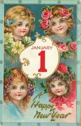 four girls heads around insert of JANUARY 1