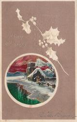 A HAPPY CHRISTMAS round inset scene of snow covered church, water left