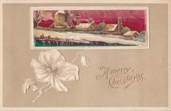 A MERRY CHRISTMAS rectangular inset of snow houses and windmill along riverbank