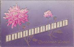 CHRISTMAS WISHES  applique of pink chrysanthemums and ribbon