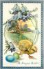 A JOYOUS EASTER  flower bordered rural scene with chick right of blue and green eggs