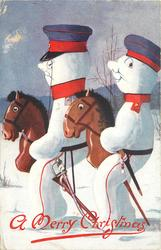 two snowman dressed as German soldiers, ride horses facing left