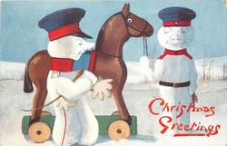 two snowman dressed as German soldiers, snowman puts on gloves ready to mount horse, other snowman smirks