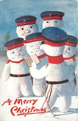 six snowman dressed as German soldiers, five snowman stand infront of a snowman with an open book