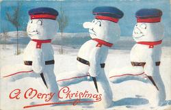 three snowman dressed as German soldiers, three snowman march left looking behind them to the right