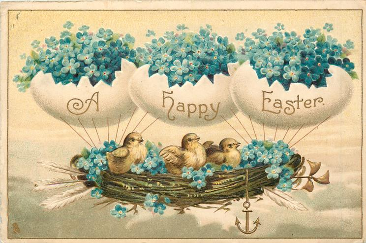 A HAPPY EASTER chicks in nest airship supported by egg balloons, forget-me-nots