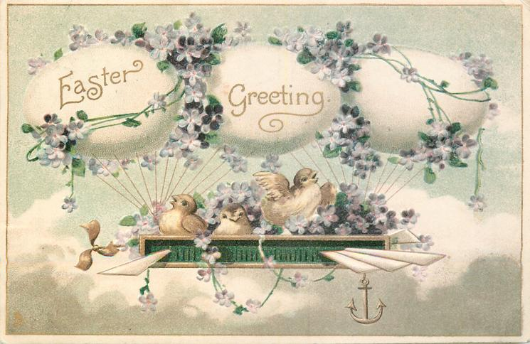 EASTER GREETING  chicks in airship nest supported by egg balloons, violets