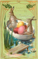 EASTER GREETINGS two rabbits transport Easter eggs in paddle boat