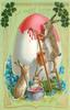 A HAPPY EASTER rabbit on ladder paints giant Easter egg, two more rabbits left