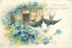 A PEACEFUL HAPPY EASTER two swallows in flight, blue forget-me-nots