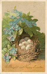 A BRIGHT AND HAPPY EASTER forget-me-nots surround bird's nest with eggs