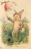 EASTER GREETINGS  child in rabbit costumes rings fantasy bell, water & butterfly below