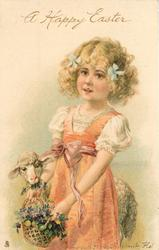 A HAPPY EASTER  girl dressed in red with cream top, lamb at her side eating flowers from her basket