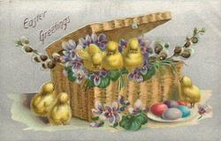EASTER GREETINGS  six chicks, three chicks in basket with lid, two more left, one right, five eggs on plate, violets