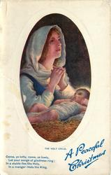 THE HOLY CHILD cloaked Madonna looks up and pray, Child sleeping on hay