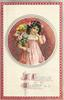 A JOYOUS EASTER  round inset, girl in pink holds rose bush in pot under arm, chick on shoulder, letter in hand, red/silver border