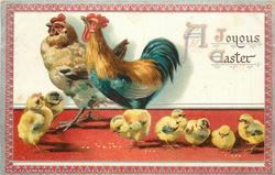 A JOYOUS EASTER  seven chicks stand on red floor, hen and rooster together behind, red/silver border