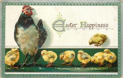 EASTER HAPPINESS  seven chicks, white breasted hen stands left, green ground & green/silver border