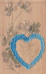 title NEW YEAR GREETINGS inside forget- me-not heart, clover left