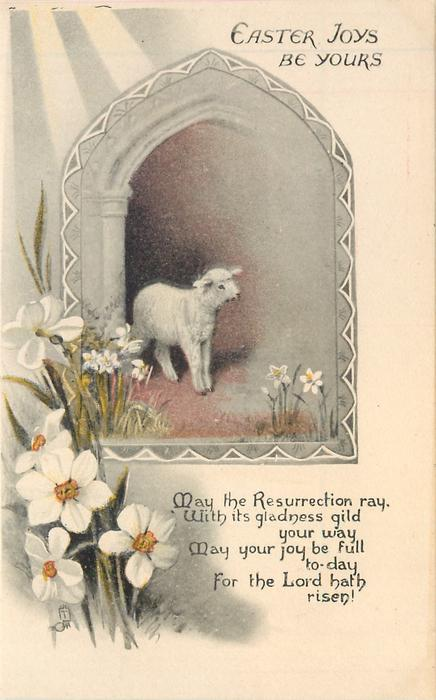 EASTER JOYS BE YOURS inset lamb & narcissus flowers