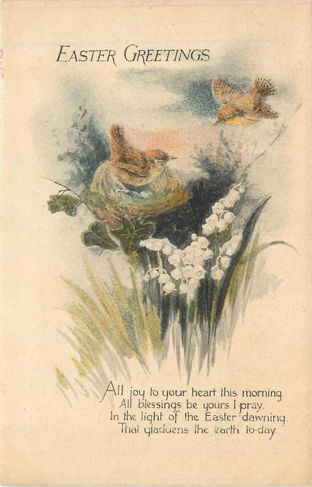 EASTER GREETINGS two birds, one in a nest, lilies of the valley below