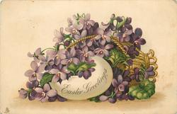 EASTER GREETINGS  basket on its side & egg both filled with violets
