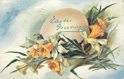 EASTER GREETINGS  egg with daffodils in front, six flowers all opened