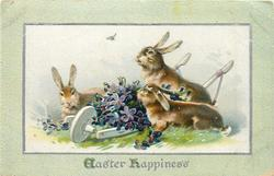EASTER HAPPINESS  three rabbits around white cart full of violets
