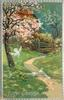 EASTER GREETINGS  dove flies from apple blossom tree, two on path