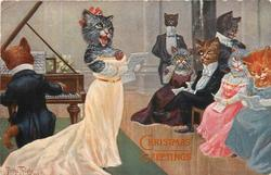 female cat singing with piano in front of crowd to the right