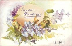 EASTER GREETINGS egg with violets