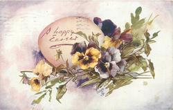 A HAPPY EASTER  egg with pansies in front