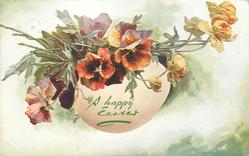 A HAPPY EASTER  egg with pansies & buttercup buds