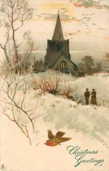 two people walk towards church in snow, single robin flies left