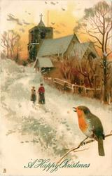 two people walk towards a church with a cross at the top, snow scene with robin chirping on a branch.  trees to the right