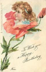 TO WISH YOU A HAPPY BIRTHDAY FROM girls face in pink poppy